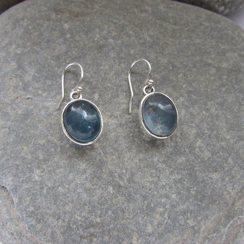 Sterling Silver Labradorite Earrings feature Labradorite cabachons set in Sterling Silver