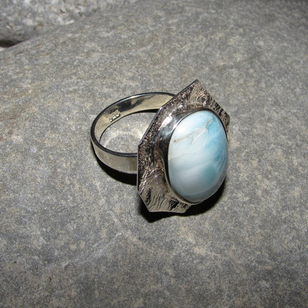 Sterling Silver Larimar Octagonal Ring Reverse Side