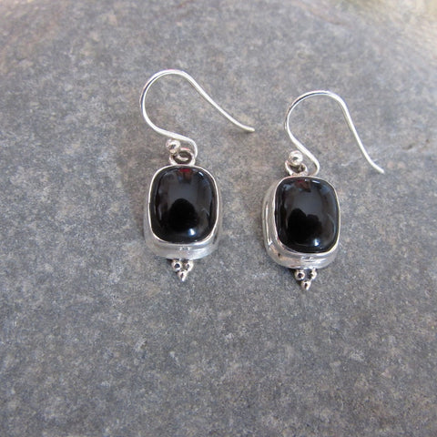 Sterling Silver Onyx Earrings  are crafted with dome shaped Onyx gemstone and Sterling Silver