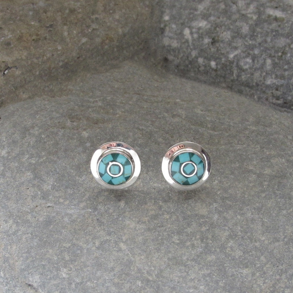Sterling Silver Turquoise Inlay Earrings feature a fan-like mosaic turquoise inlay design