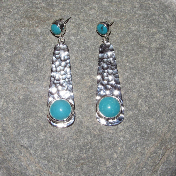 Sterling Silver Turquoise Station Long Earrings