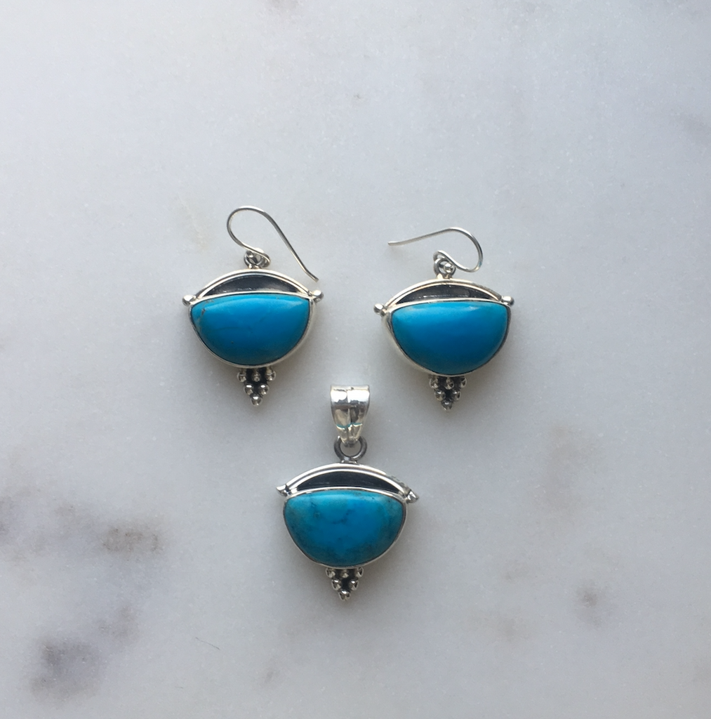 Sterling Silver and Turquoise Stone Earrings and Pendant Set