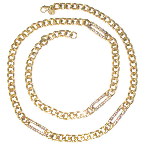 Talbots Figaro Pave Chain Necklace