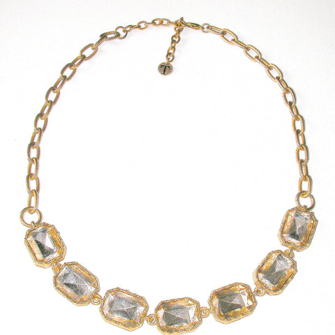 Talbots Rectangle Clear Stones Necklace