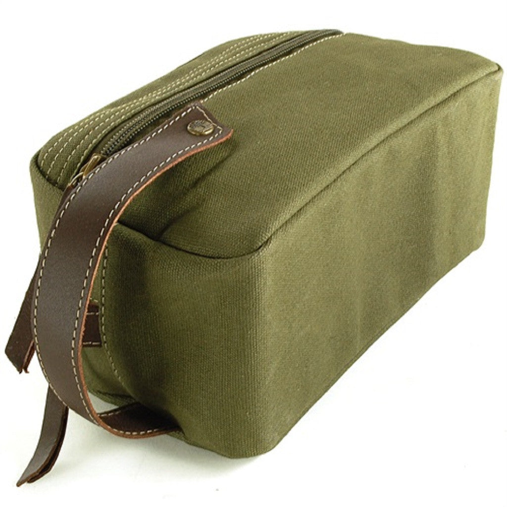 Timberland Olive Green Canvas Travel Kit Bottom View