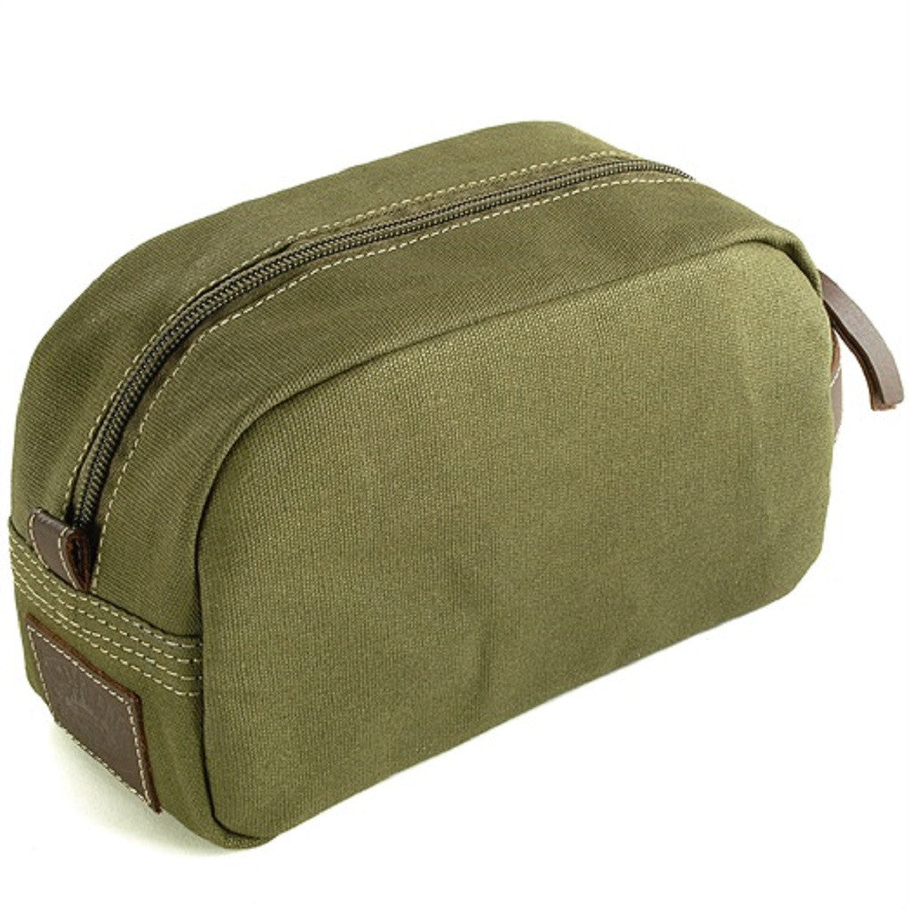 Timberland Olive Green Canvas Travel Kit Reverse View