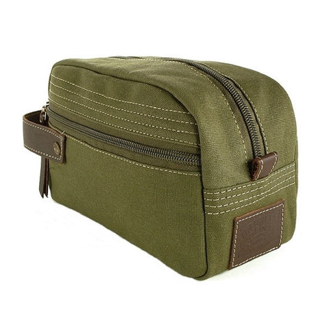 Timberland Olive Green Canvas Travel Kit Carry Strap View