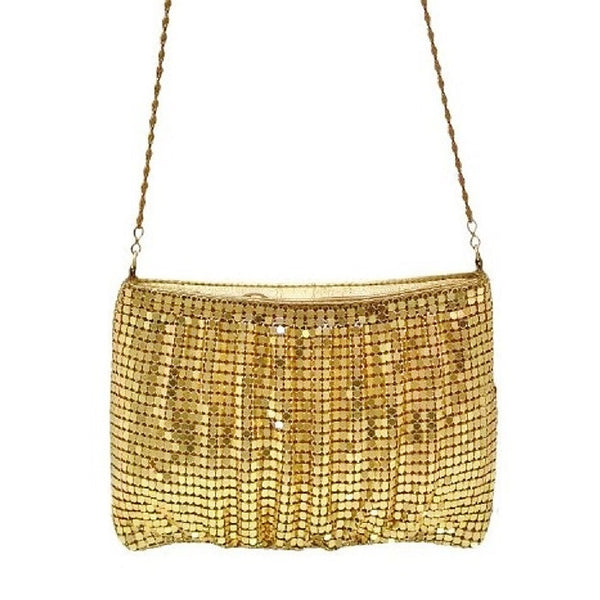 Time Square Gold Mesh Ruched Evening Bag Closeup