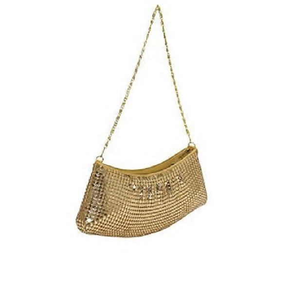 Time Square Gold Mesh Ruched Evening Bag Full Look