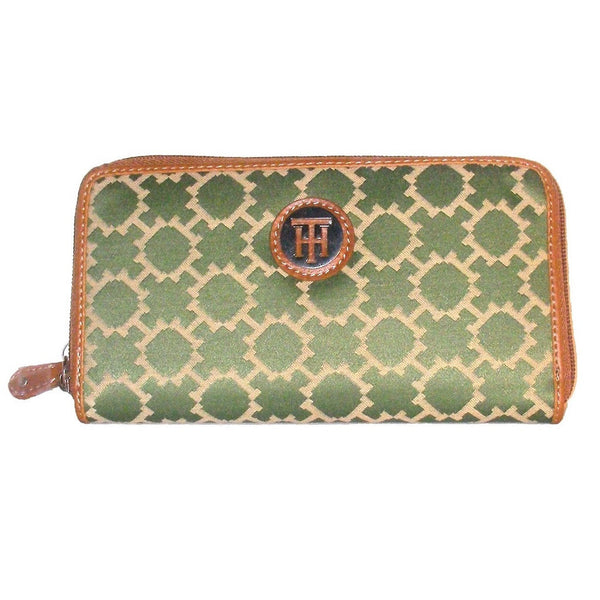 Tommy Hilfiger Green and Tan Zip Around Wallet