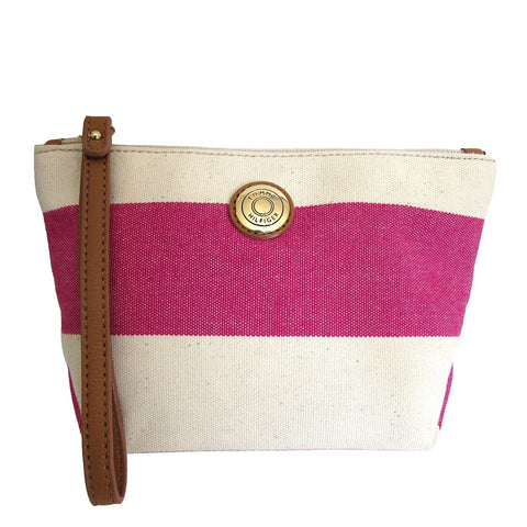 Tommy Holfiger Rugby Pink Striped Pouch Wristlet strap makes it easy to carry and hang on hook behind door.