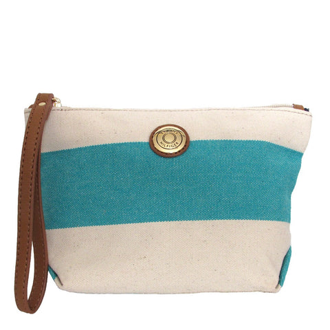 Tommy Holfiger Rugby Turquoise Striped Pouch Wristlet strap makes it easy to carry and hang on hook behind door.