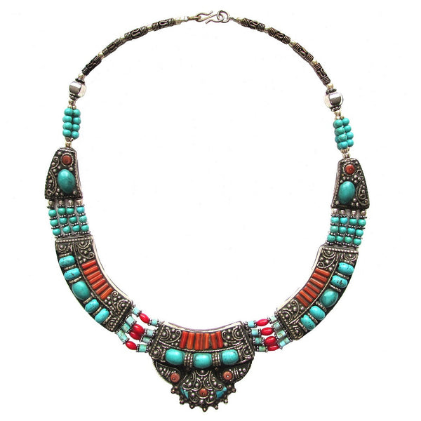 Turquoise Natural Stone Collar Necklace 'Zar' featuring pastel shades of turquoise and coral stones set in antiqued carved silver. Handcrafted.