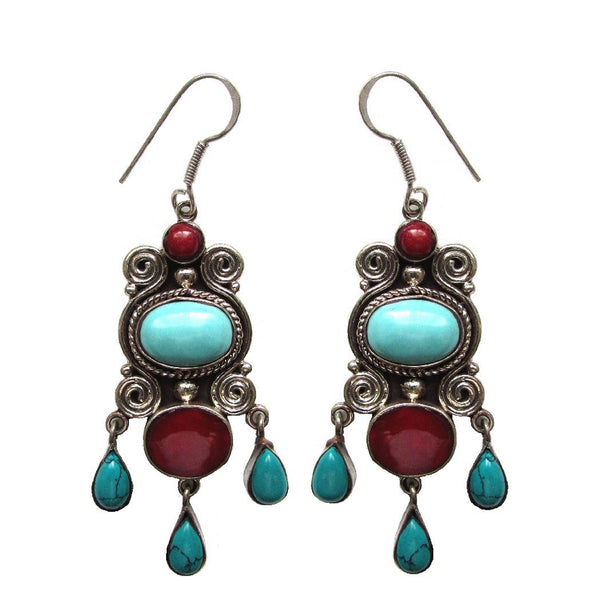 Turquoise Natural Stone Drop Earrings 'Zar'
