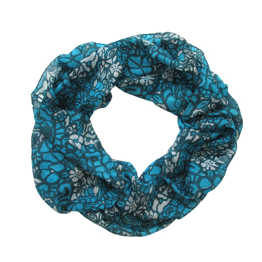 Turquoise Print Silk Scarf