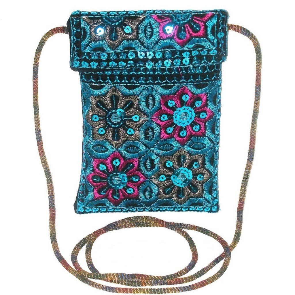 Urban Bohemia Blue Sequin Carryall Pouch Front Look