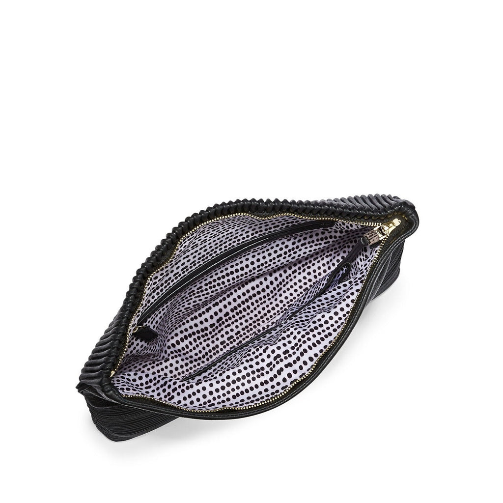 Vince Camuto Leather Ribbed Clutch - Interior