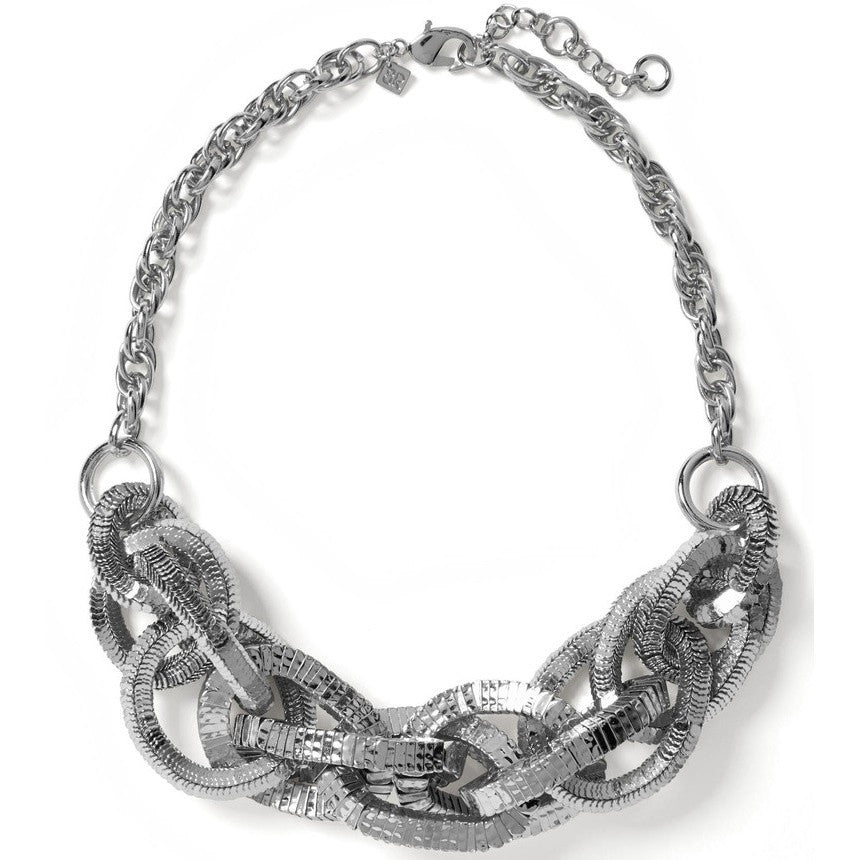 Banana Republic Glimmer Glamour Statement Necklace Silver