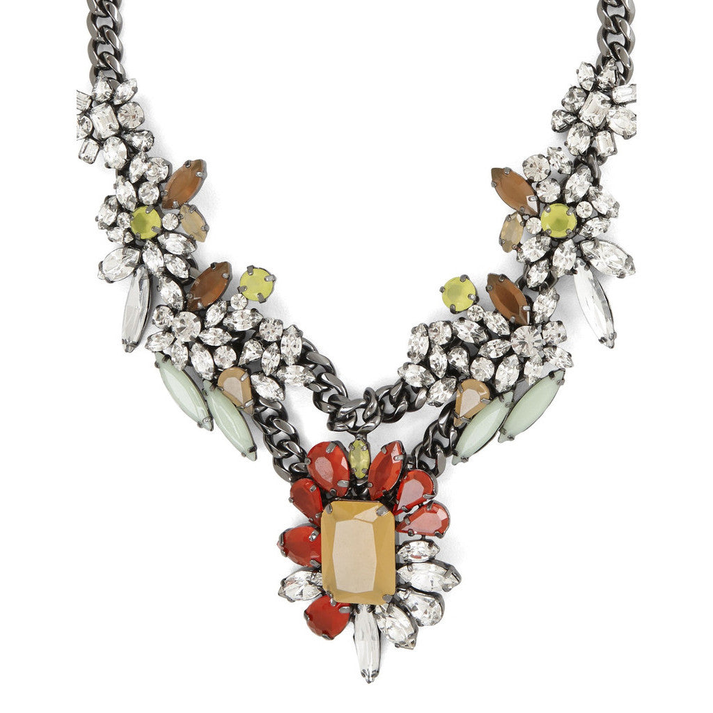 BCBGMAXAZRIA Multicolor Floral Stone Necklace Closeup