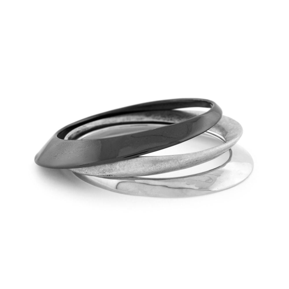 BCBGeneration Silver Tone 3 Piece Bangle Set side view