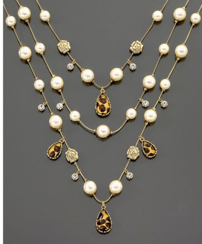 Betsey Johnson Leopard and Pearl Multi-Row Illusion Necklace