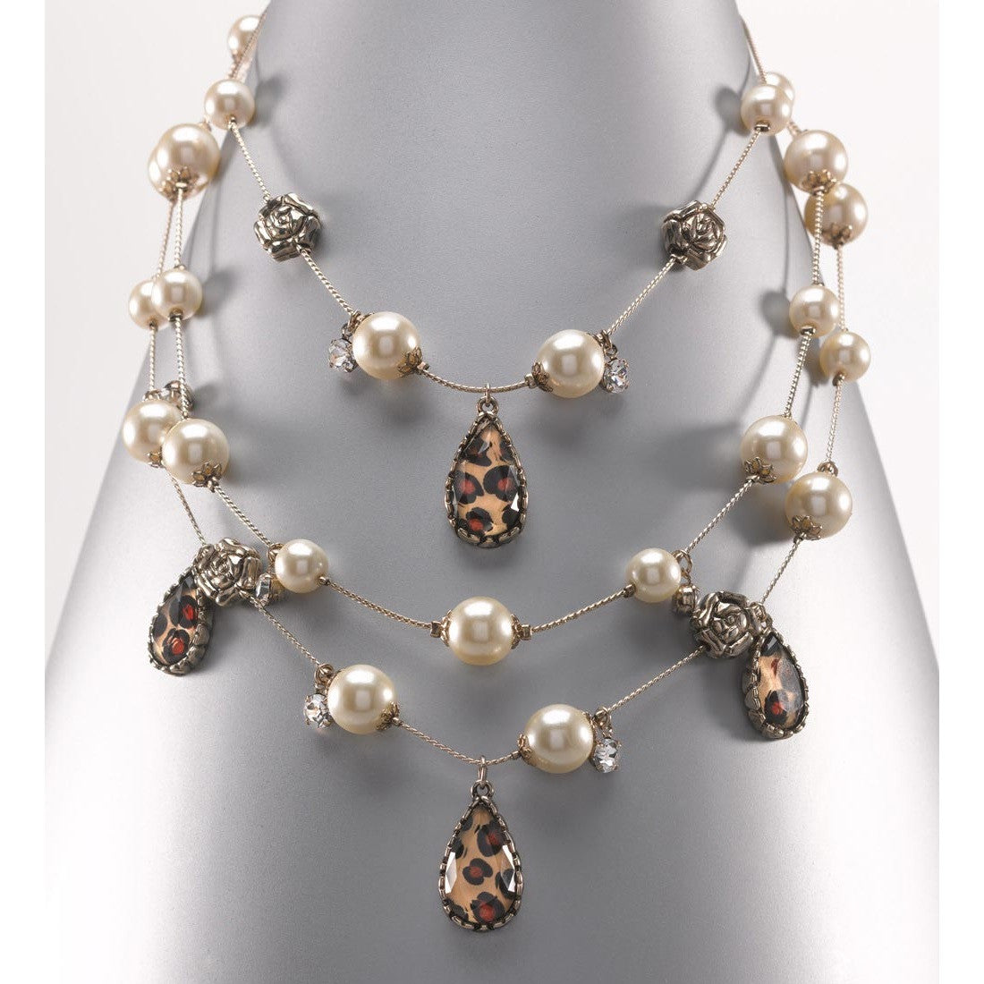 Multi Row Pearl Necklace: Betsey Johnson Leopard And Pearl Multi-Row Illusion