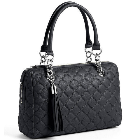 Calvin Klein Black Quilted Leather Satchel