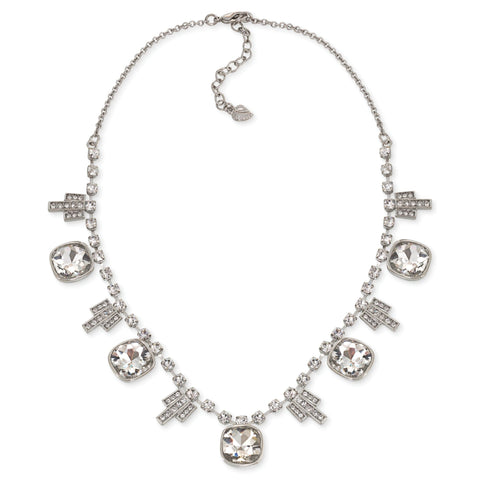 Create a sparkling statement with this deco style frontal necklace for any special occasion