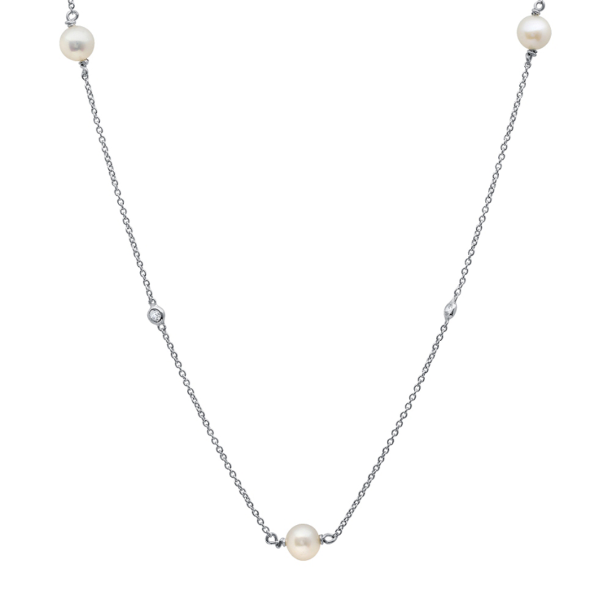 CRISLU Freshwater Pearl on Platinum Sterling Silver Necklace