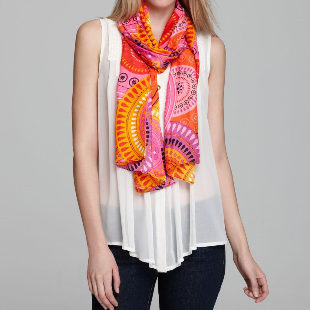 Echo Orange/Pink Printed Scarf Add a pop of color to your look