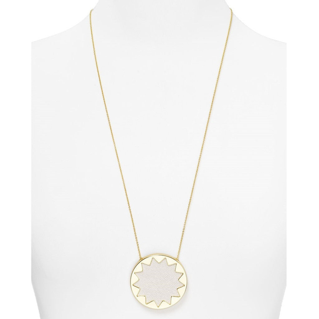 House of Harlow 1960 Embossed Sunburst Pendant Necklace Neck View