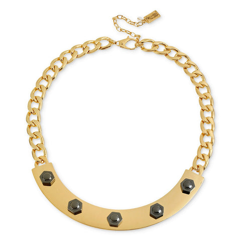 Kenneth Cole Goldtone Hematite Rivet Half Moon Frontal Necklace