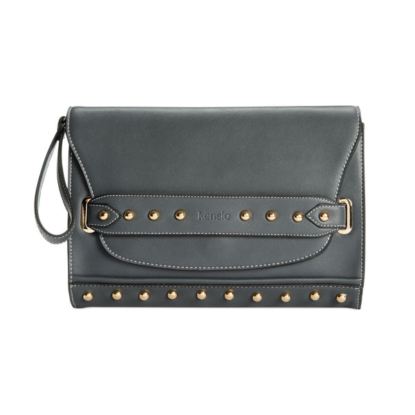 Kensie Foldover Studded Clutch