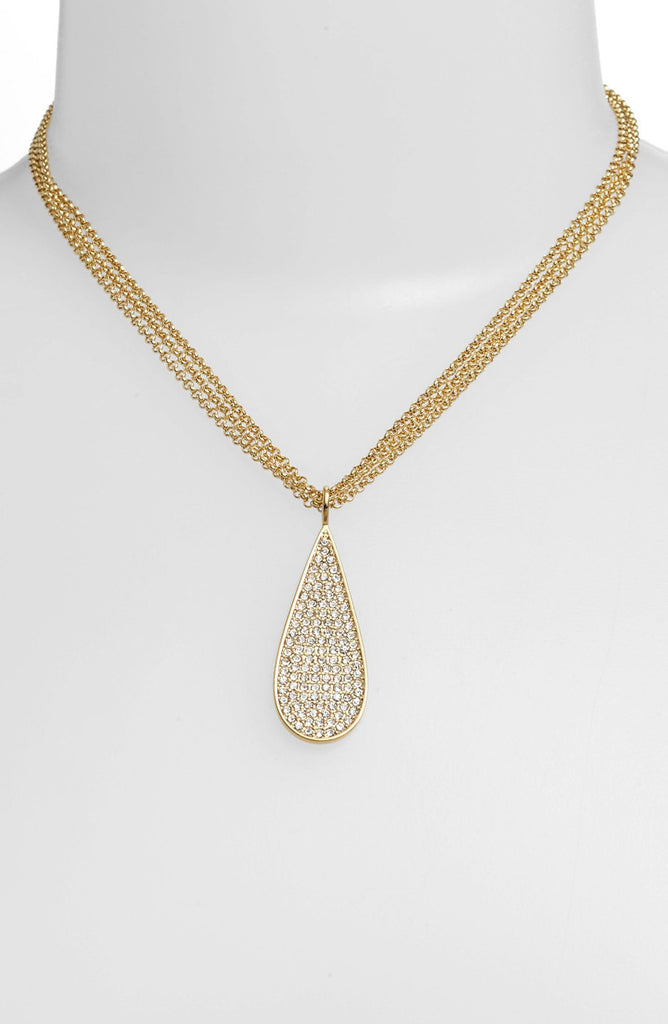 Lauren by Ralph lauren Gold Pavé Teardrop Pendant Necklace Neck View