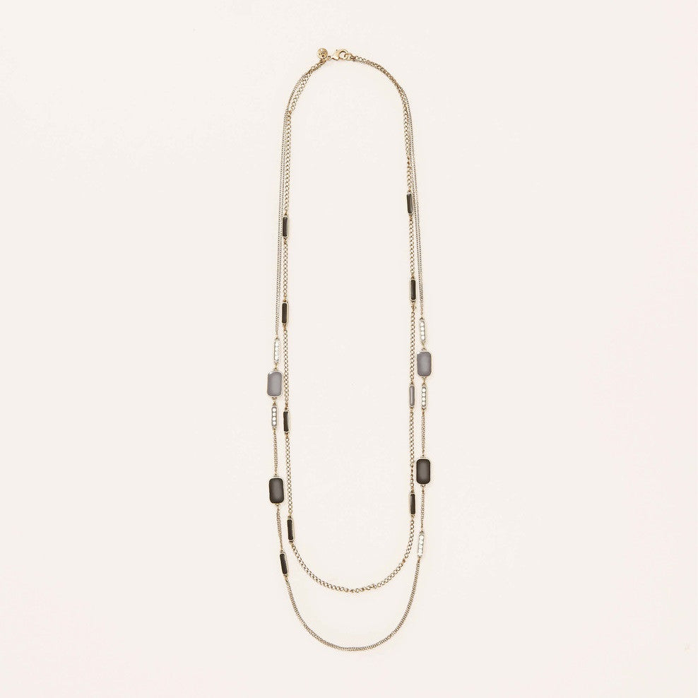 LOFT Long Enamel and Pave Multi Strand Necklace