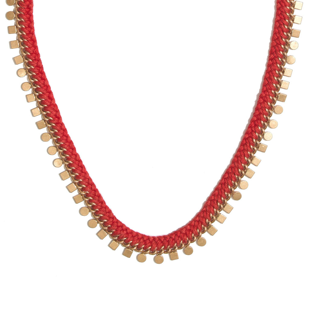 Madewell Red Braided Geo Chain Necklace Rusted Clay Closeup