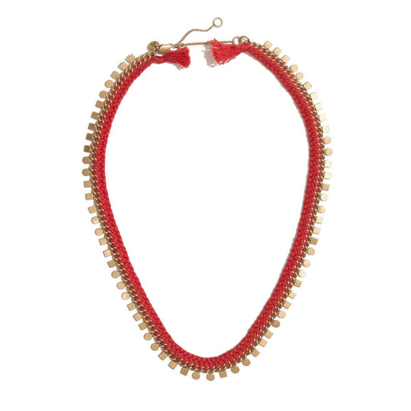 Madewell Red Braided Geo Chain Necklace Rusted Clay