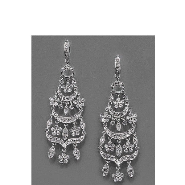 Monet Crystal Chandelier Earrings On Dark Background