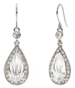 Monet Crystal Pave Drop Earrings Closeup