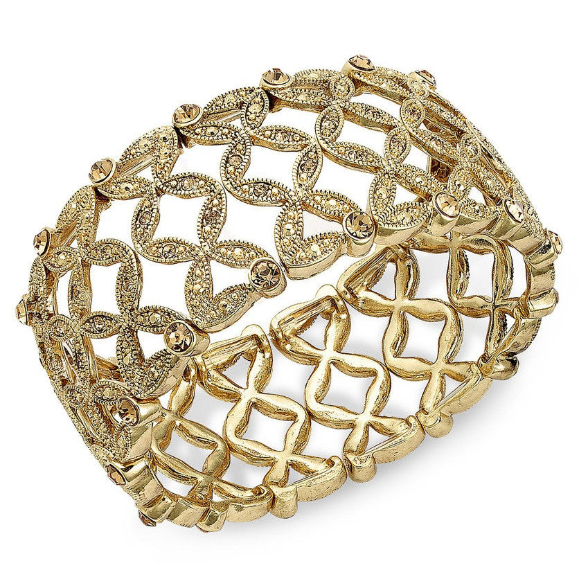 Monet Gold Plated Basket Weave Broad Stretch Bracelet