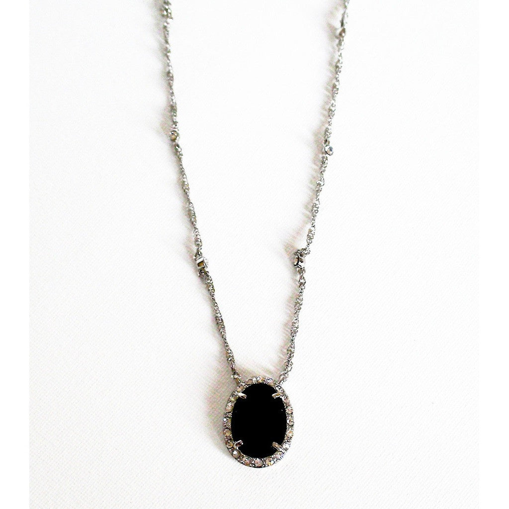 Monet Silver Tone Jet and Crystal Station Necklace