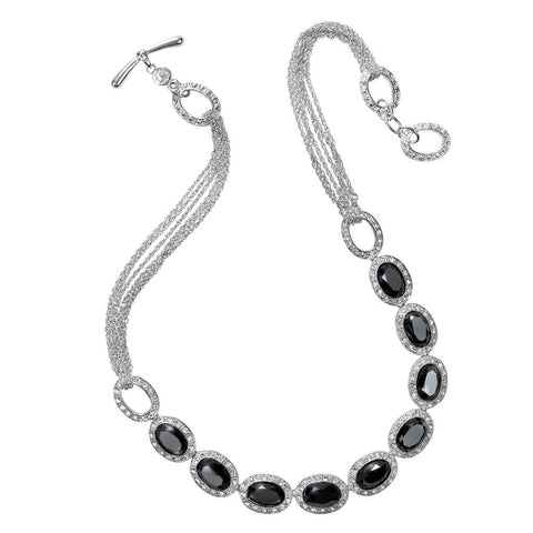 Monet Jet and Pave Cubic Zirconia Necklace