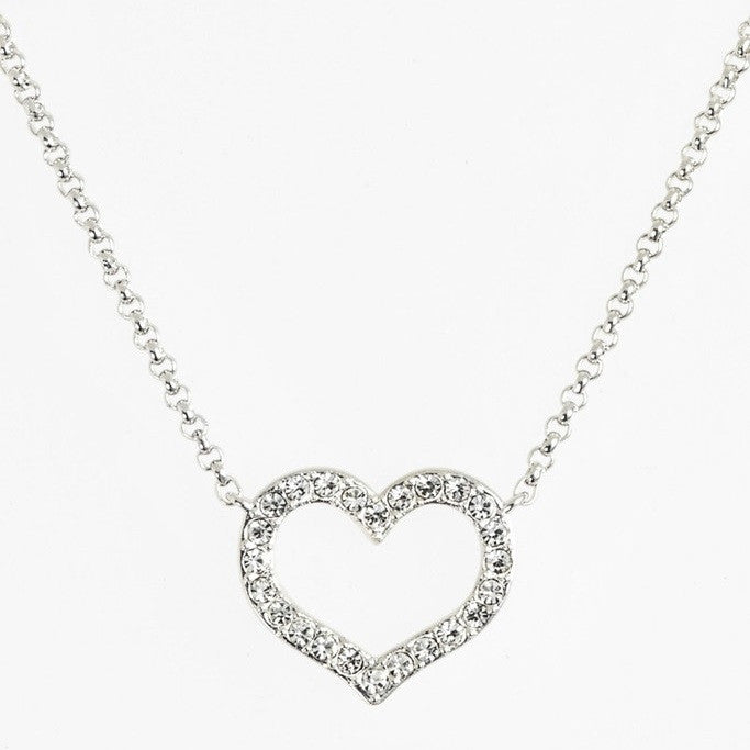Nadri Boxed Pave Open Heart Pendant - Rhodium Plated