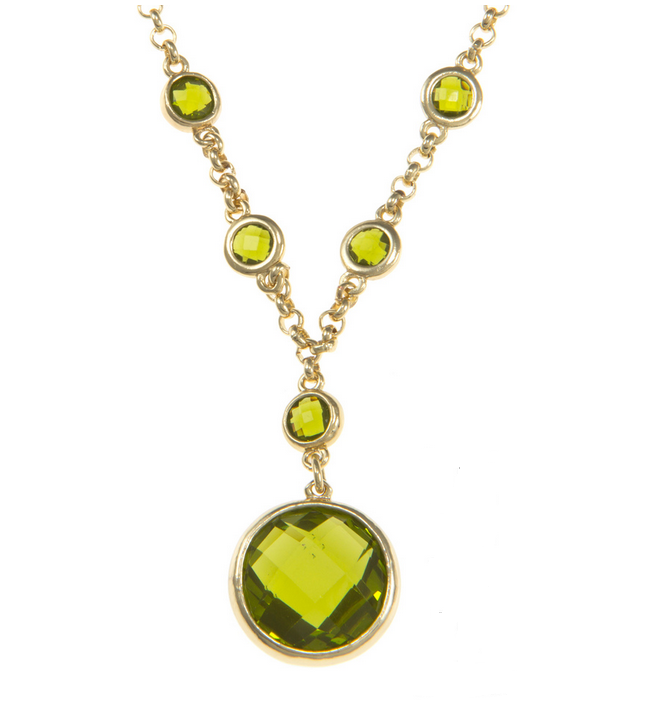 Carolee Picture Perfect Peridot Necklace in Gold Plate Closeup