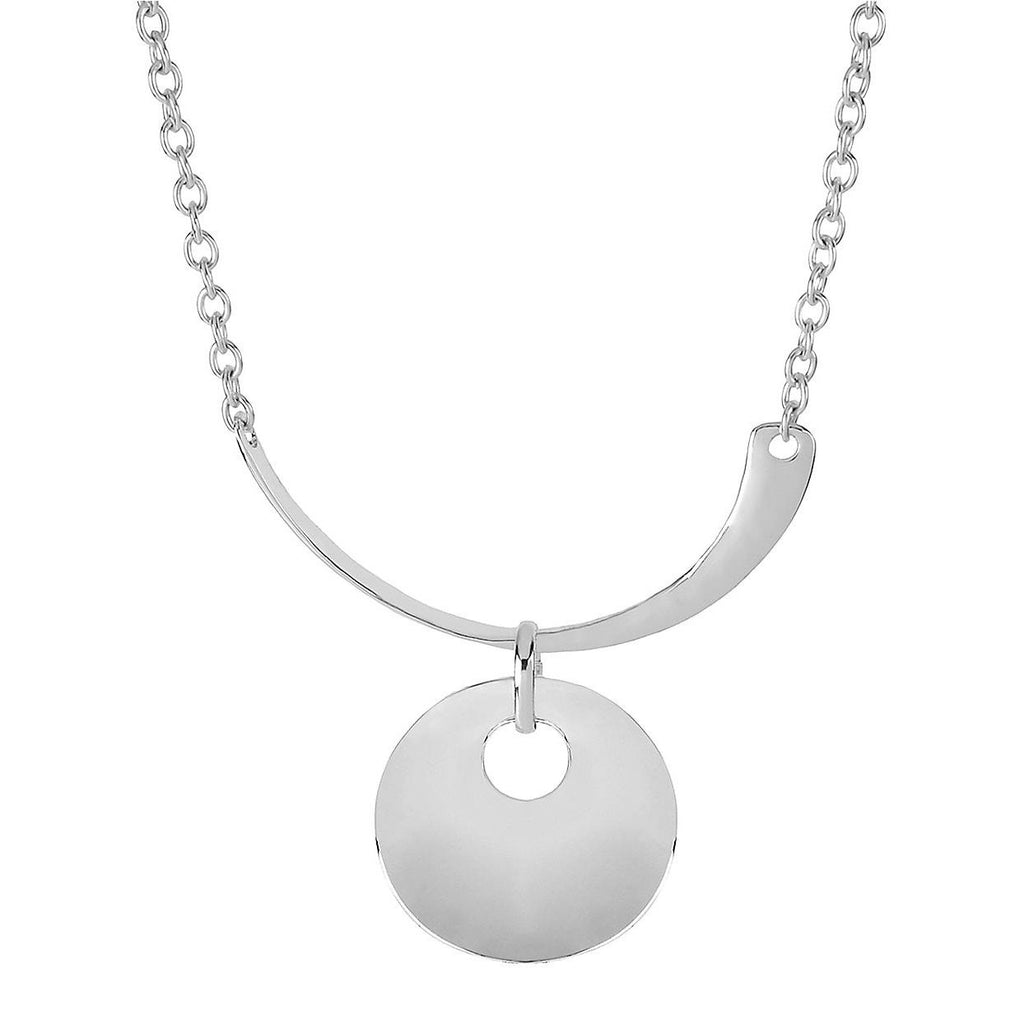 Robert Lee Morris Silvertone Half Moon Circle Pendant Necklace