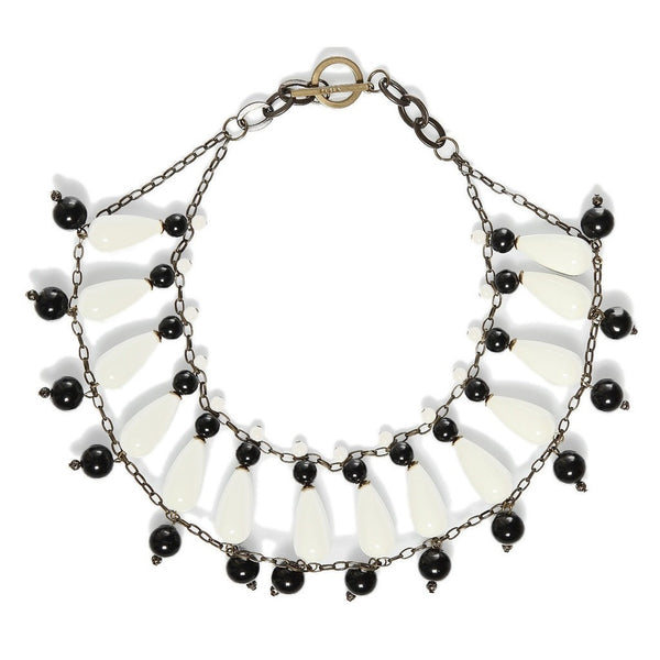 Furla Black and White Ceramic Statement Necklace