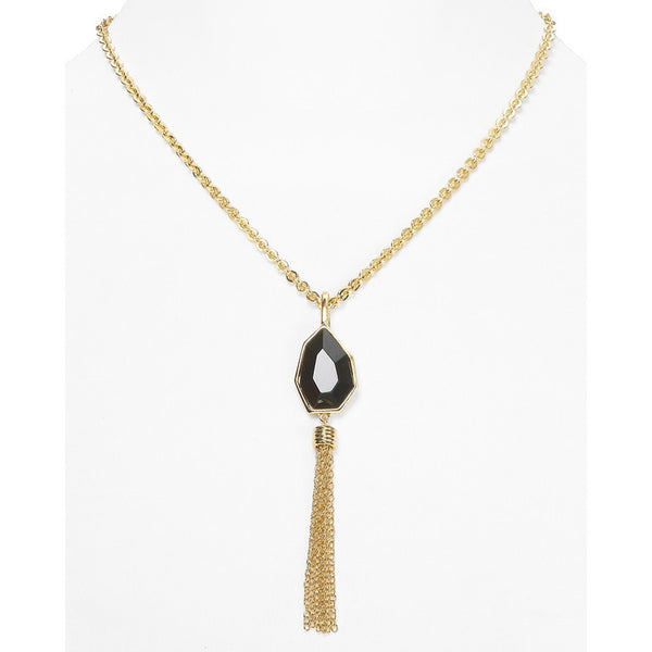 T Tahari Jet Tassel Necklace