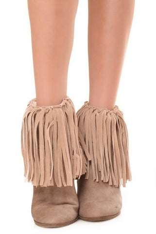 faux suede fringe boot cover