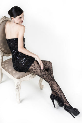 Blossom Bouquet Printed Fishnet Tights