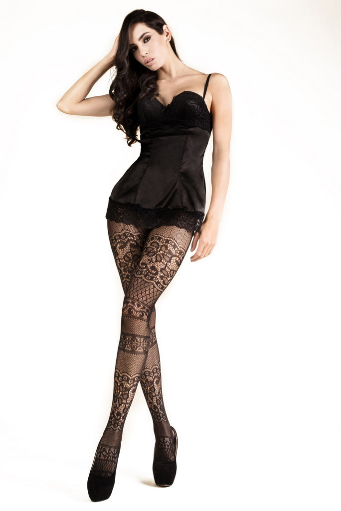 Intarsia Lace Fishnet Tights